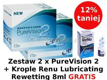Zestaw 2 paczki PureVision® 2 HD 6szt.+Krople Renu Lubricati