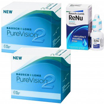 PureVision 2HD 2x6szt.+Krople ReNu Lubricating Rewetting