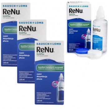 ReNu MultiPlus 3x120ml płyn do soczewek+ 60ml GRATIS