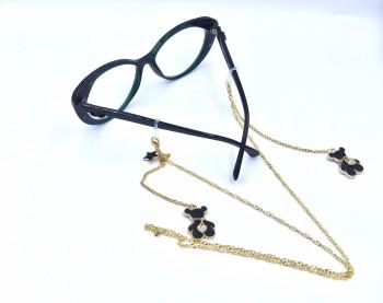 Złoty łańcuszek do okularów z zawieszkami