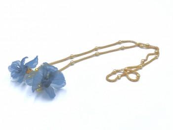 Łańcuszek do okularów niebieski kwiatek